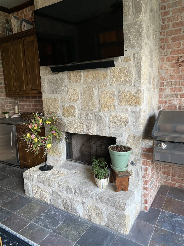fireplace on back patio