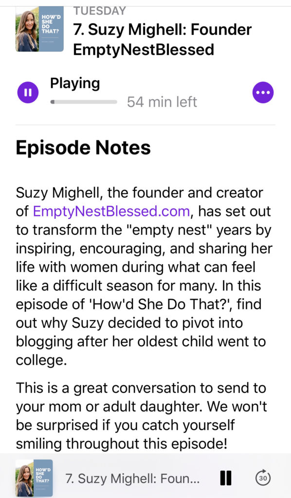 podcast description of suzy mighell on the how'd she do that podcast