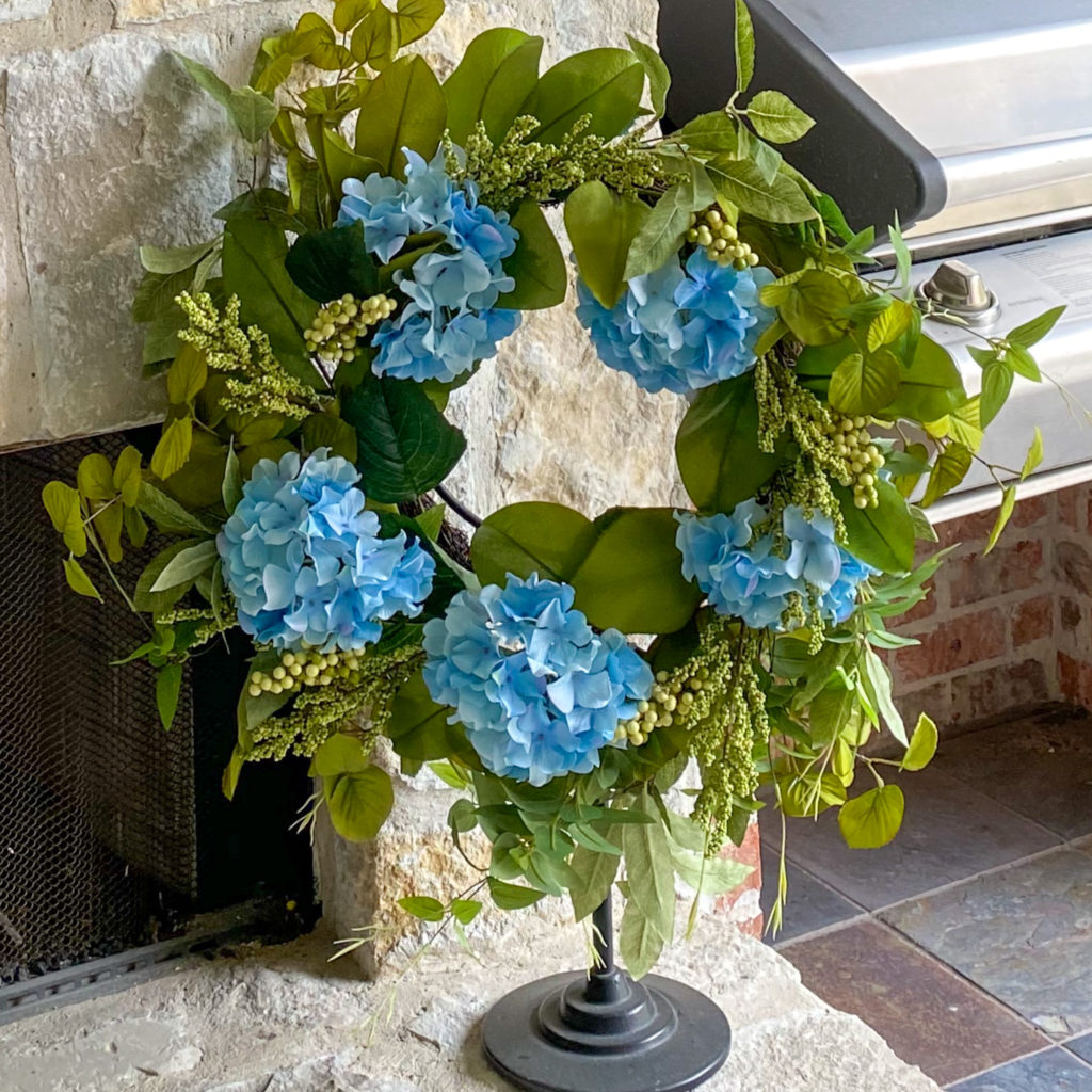 closeup of blue hydrangea wreath