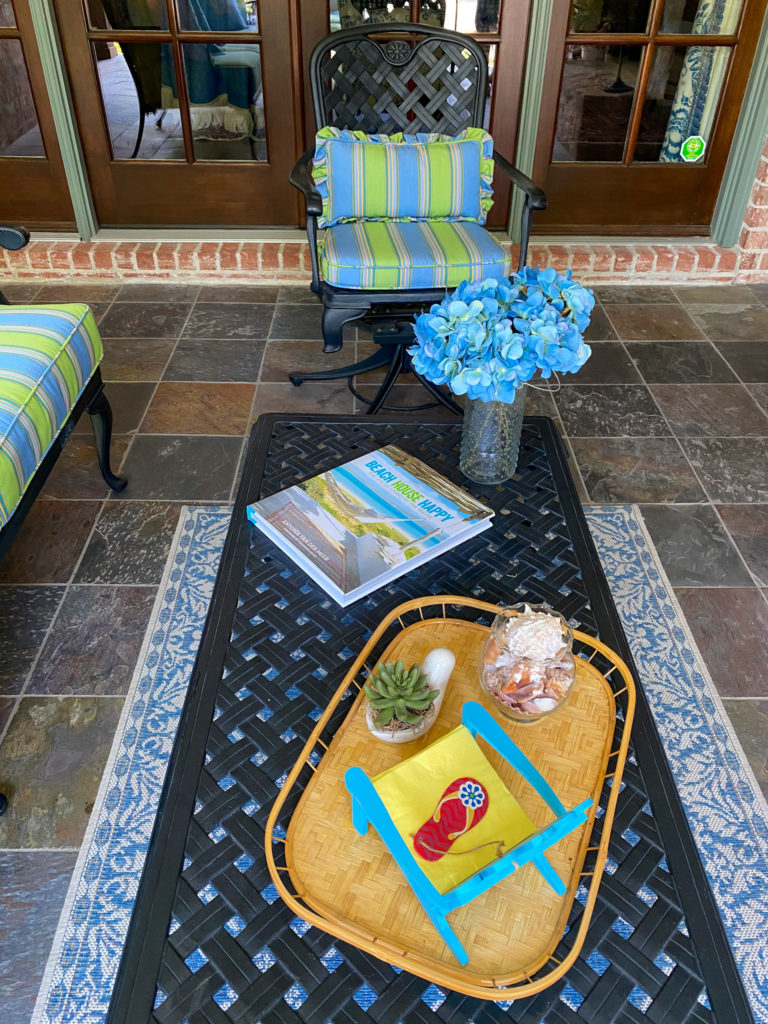 coffee table and decor as part of back patio update