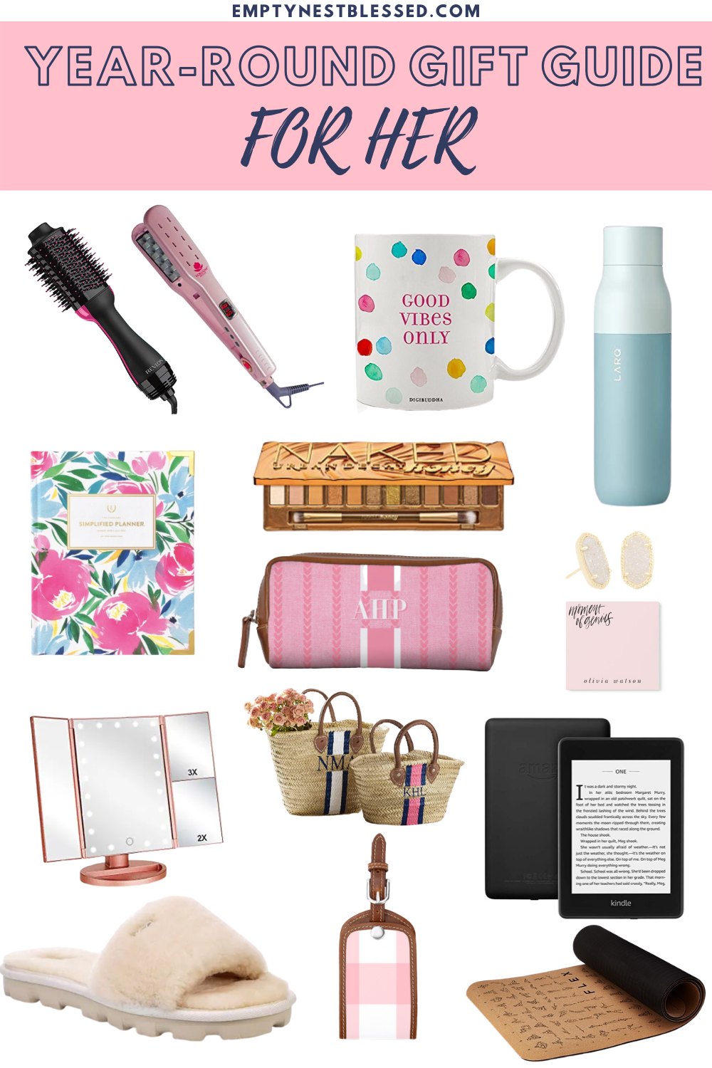 collage of products for gift ideas for her