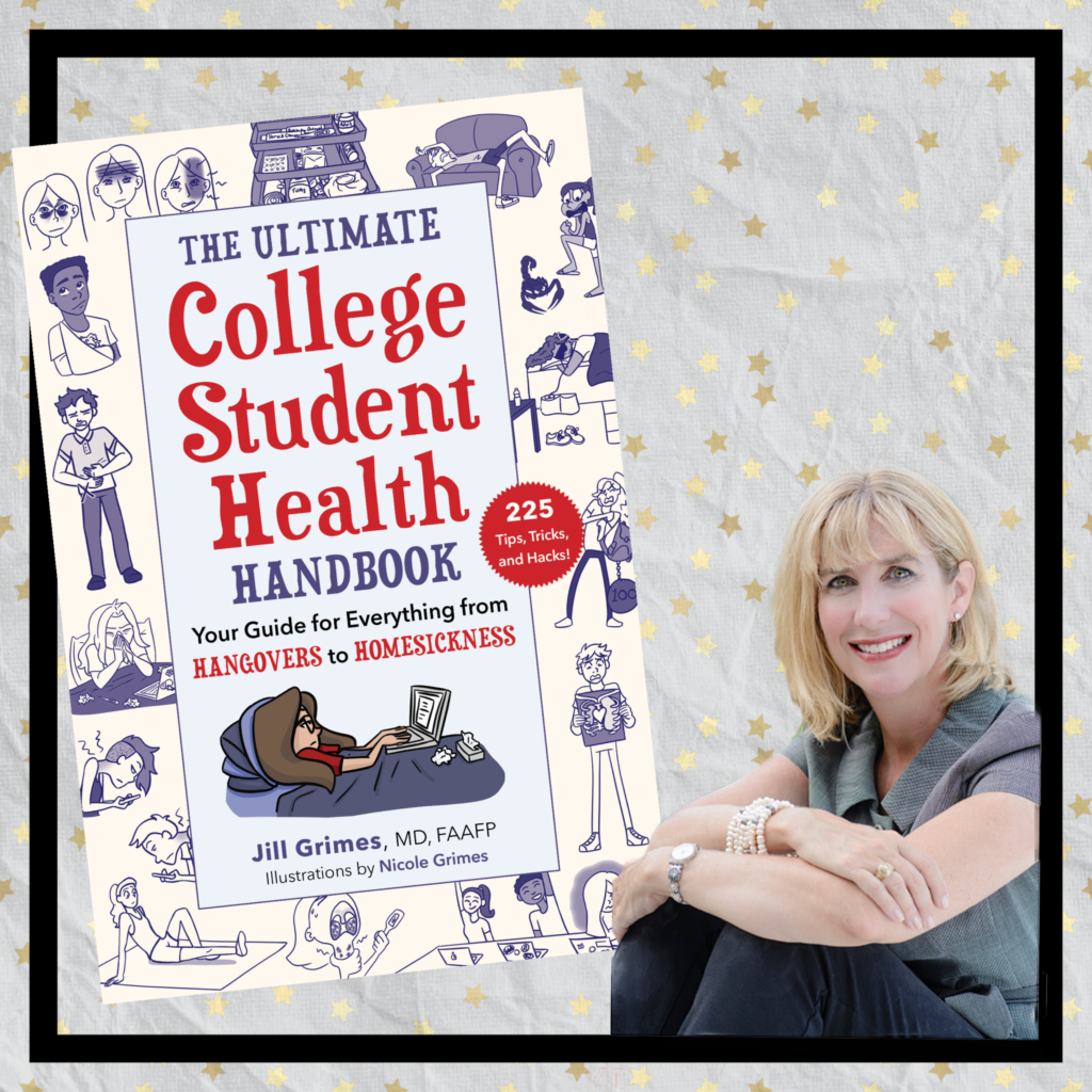 jill grimes md seated next to a large copy of her book the ultimate college student health handbook