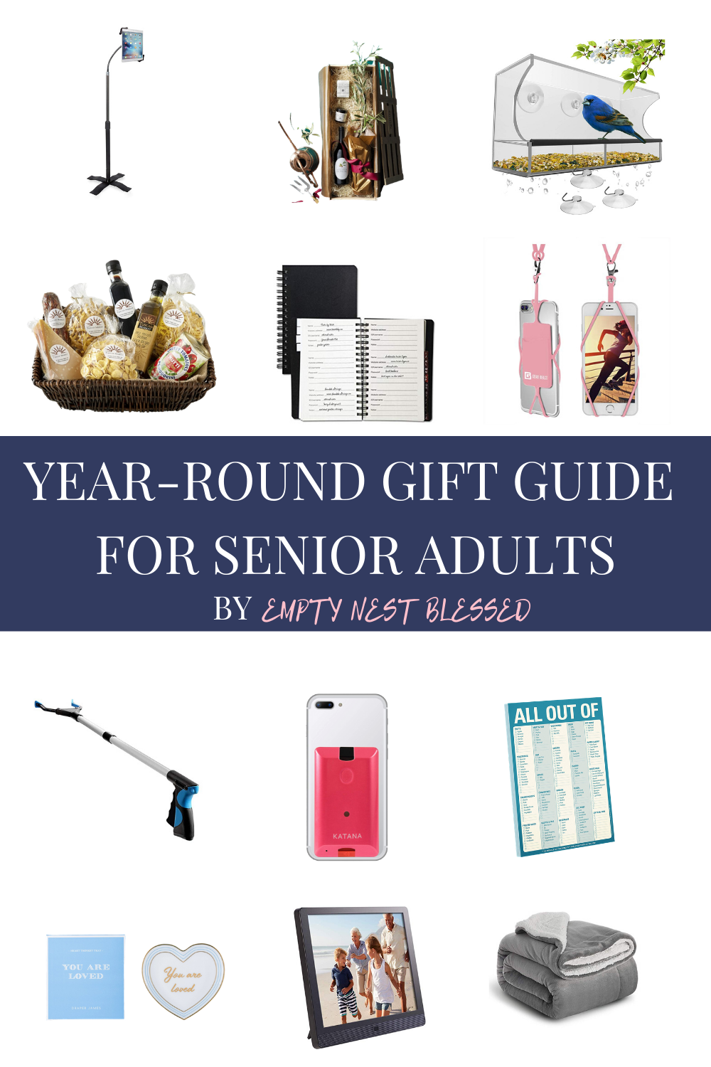 collage of products for gift ideas for senior adults