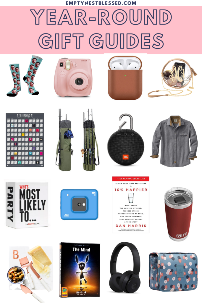 collage of products for year round gift guides