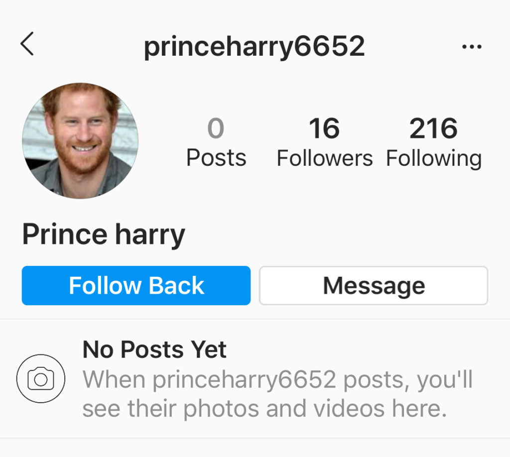 example of a fake instagram account
