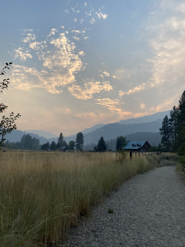 sunset view in idaho mountains