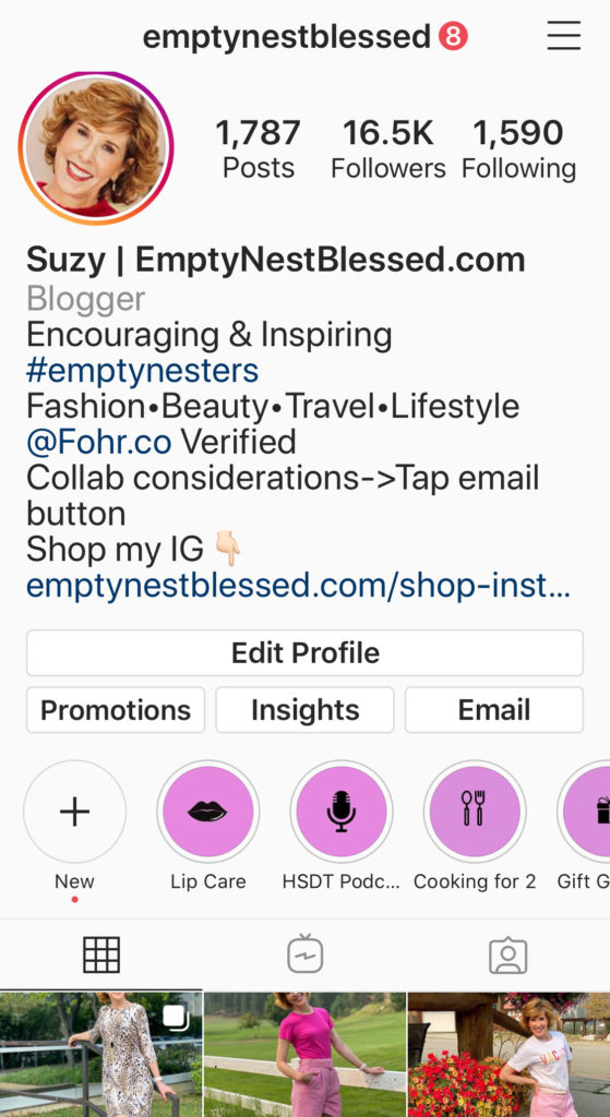 screenshot of @emptynestblessed Instagram profile page
