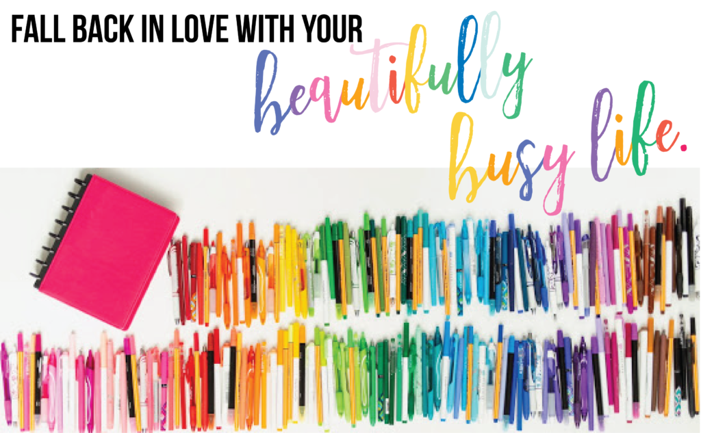 colorful beautifully busy life graphic with lots of colorful magic markers on a white background