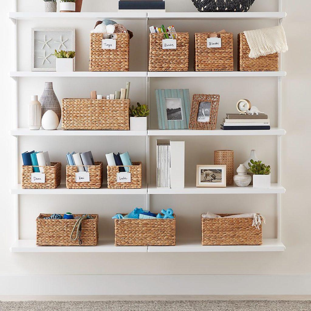 Water Hyacinth baskets on shelf helping to get organized