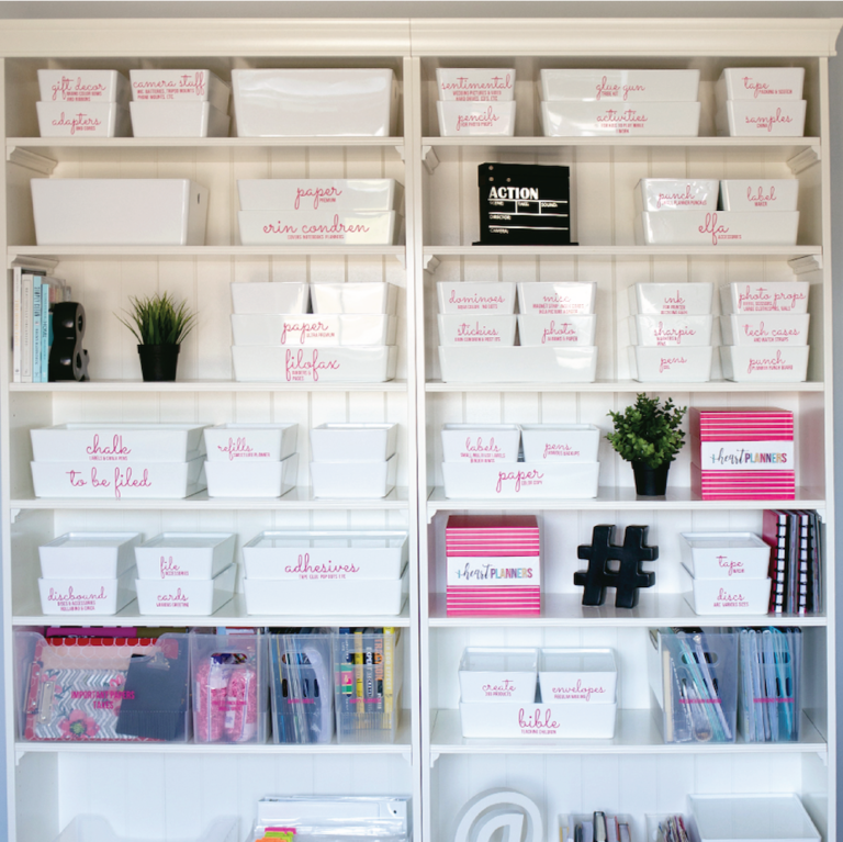 organized boxes in a pantry