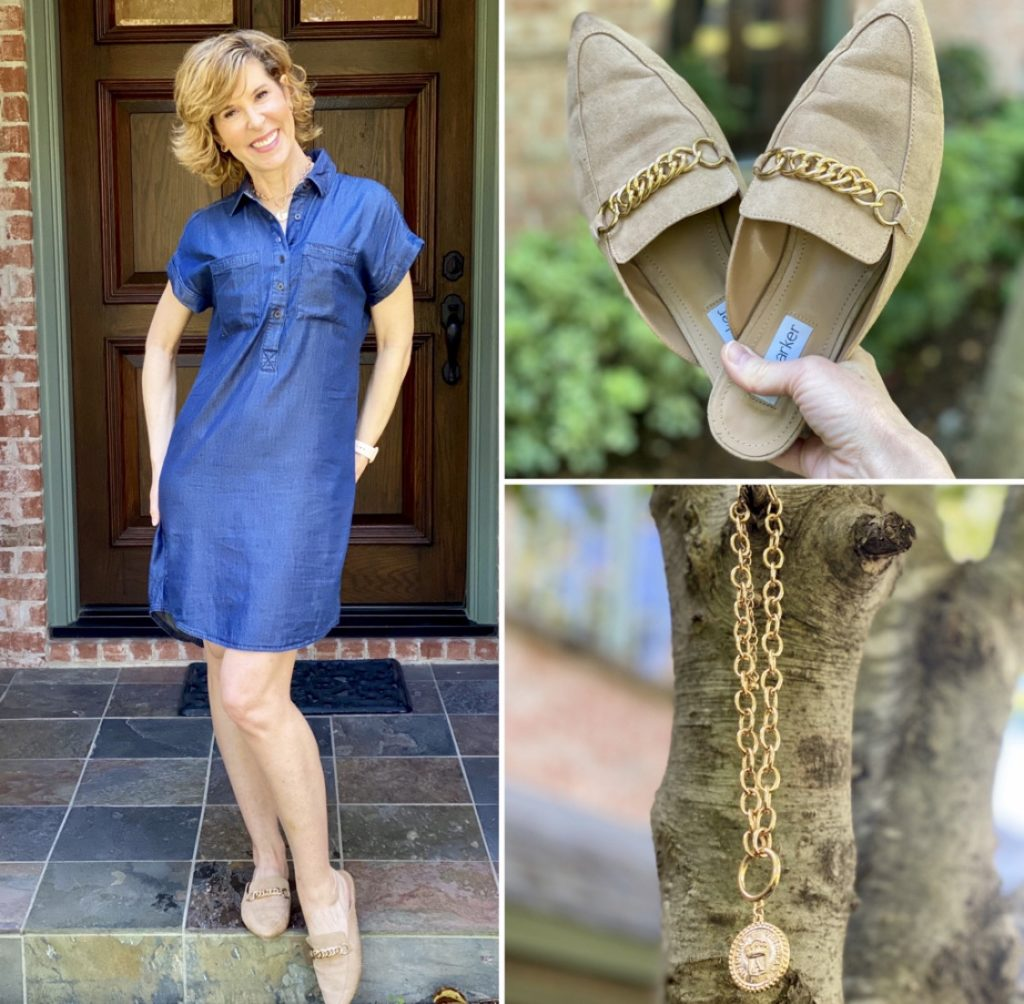 collage of woman in denim shift dress and kell parker chain link mules and the styled collection chain link coin pendant necklace