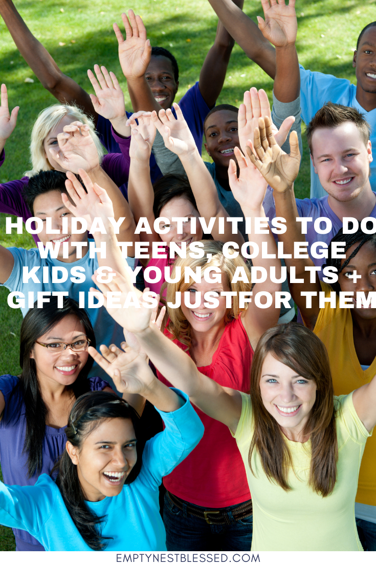 group of young people excited about holiday activities