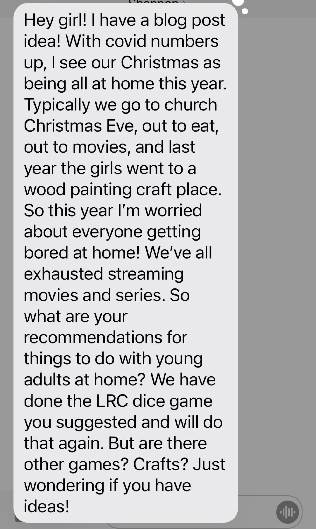 text about Holiday Activities to Do With Young Adult Kids