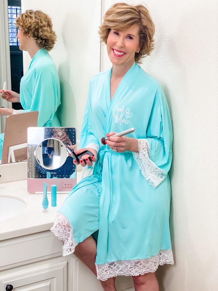 woman wearing marley lilly monogrammed bath robe