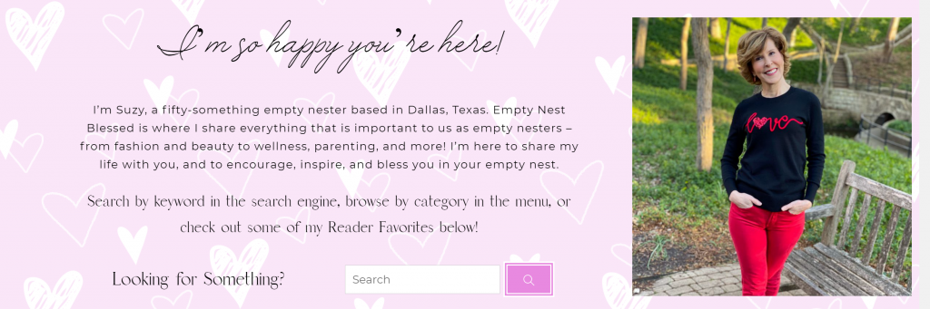 screenshot of empty nest blessed new website about section