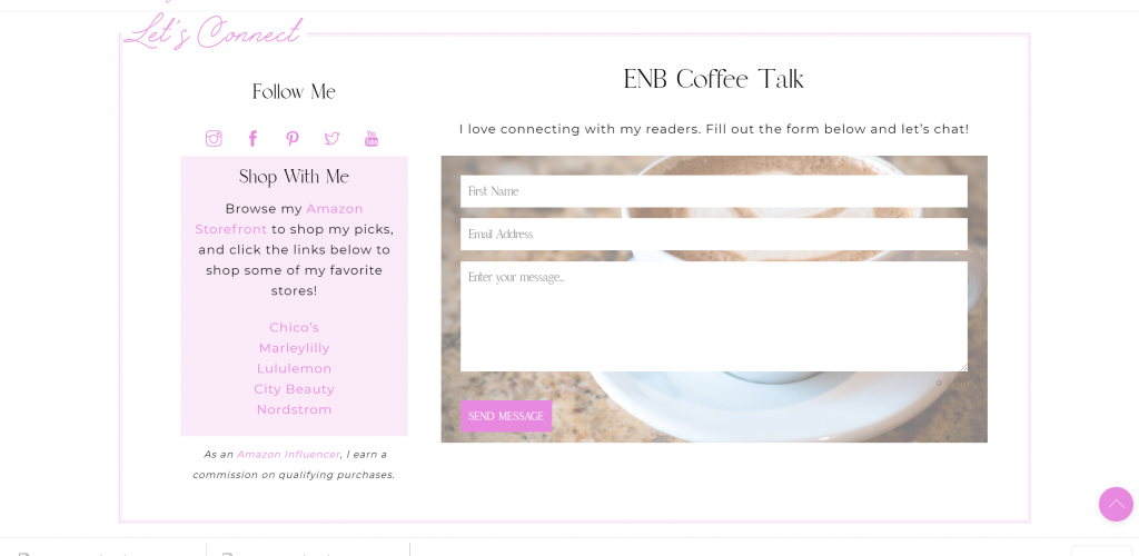 screenshot of empty nest blessed new website let's connect section