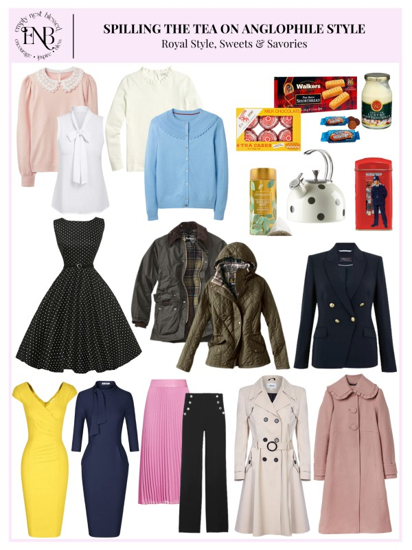 collage of anglophile style clothing and accessories