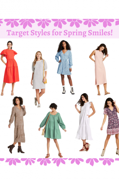 This collage shows 8 of my favorite trending spring dresses I found at Target!