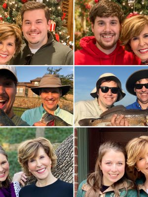 collage of empty nester parents with their adult children