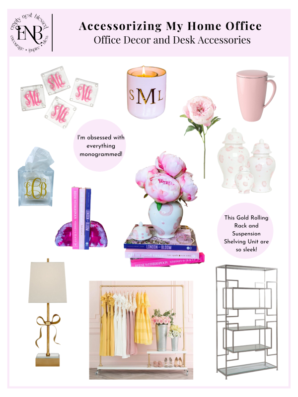 collage of pink desk accessories