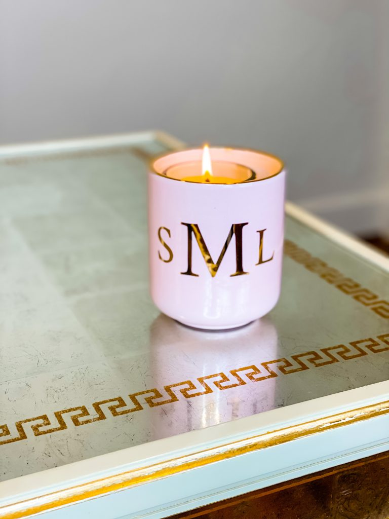 pink monogrammed candle