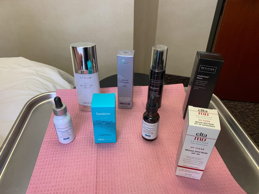 tray of best skincare products for over 50 women