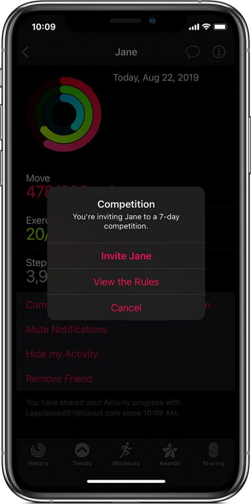 iPhone share activity rings