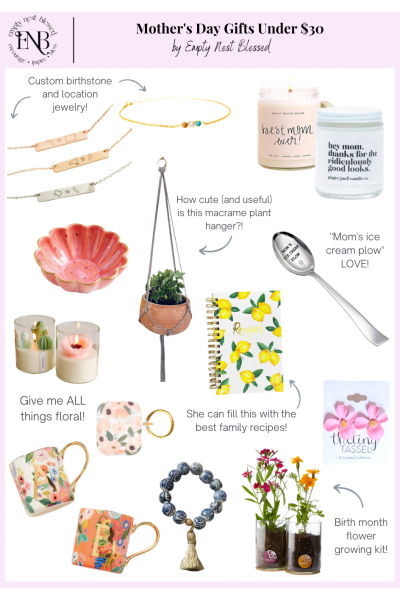 Collage mother's day gifts under $30 floral mugs candles jewelry