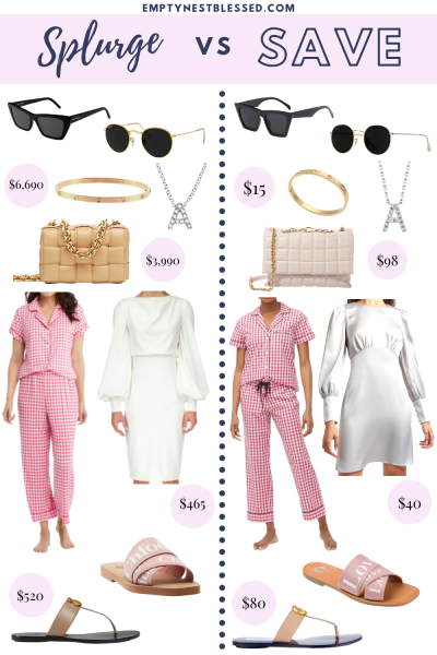 Collage expensive designer items and affordable dupes