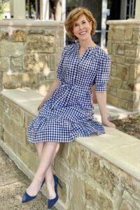 woman wearing draper james loretta shirt dress ingingham