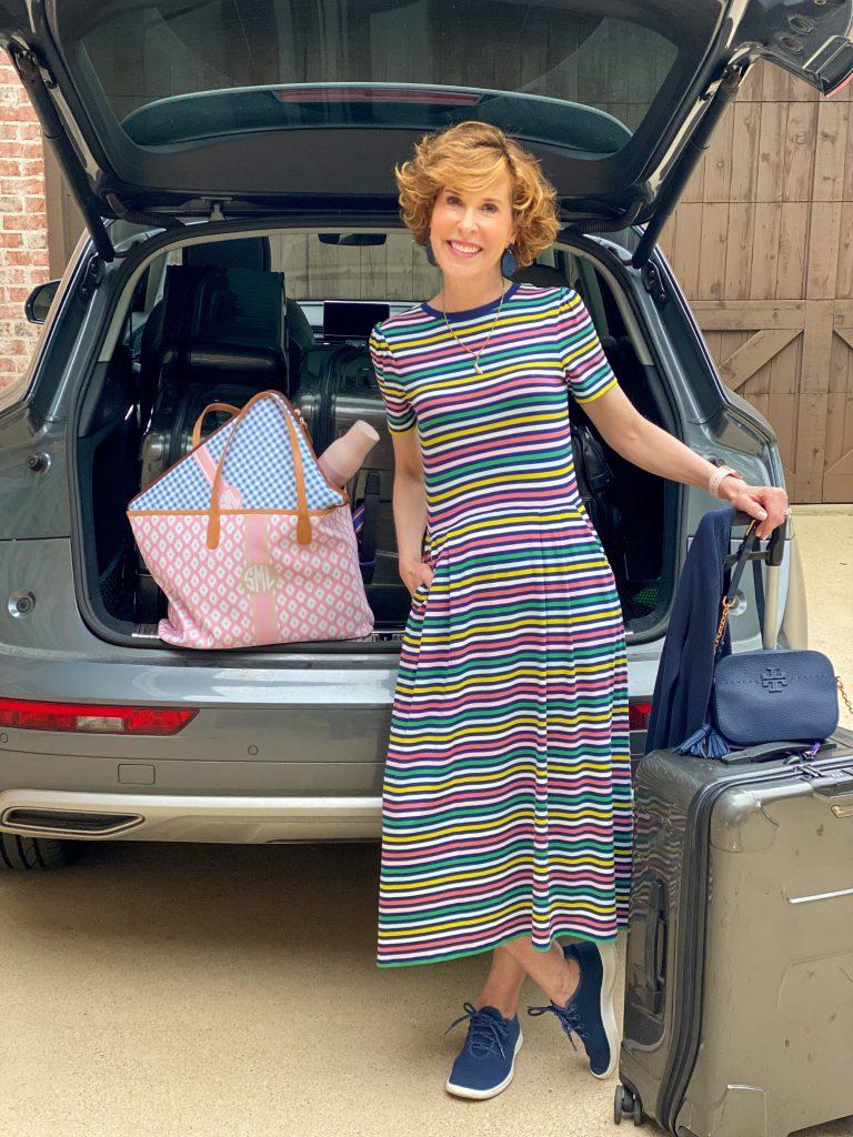 woman wearing boden's striped lucinda Jersey Midi Dress