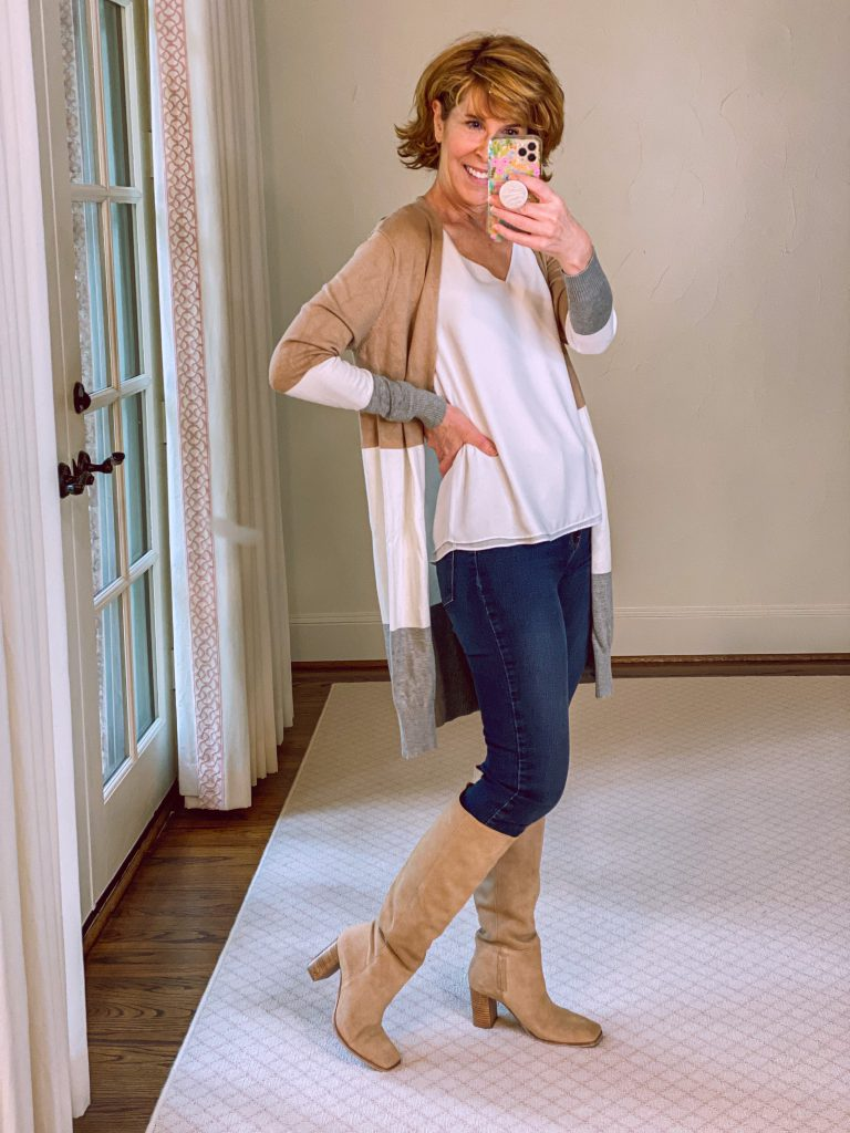 woman wearing lilly pulitzer reversible tank, amazon colorblock cardigan, mott and bow jeans and Olly Knee High Boot from the Nordstrom Anniversary Sale
