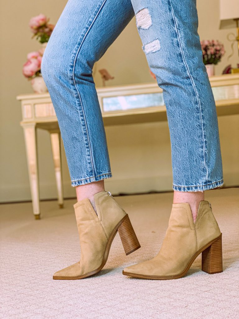 vince camuto tortilla suede booties from nordstrom anniversary sale