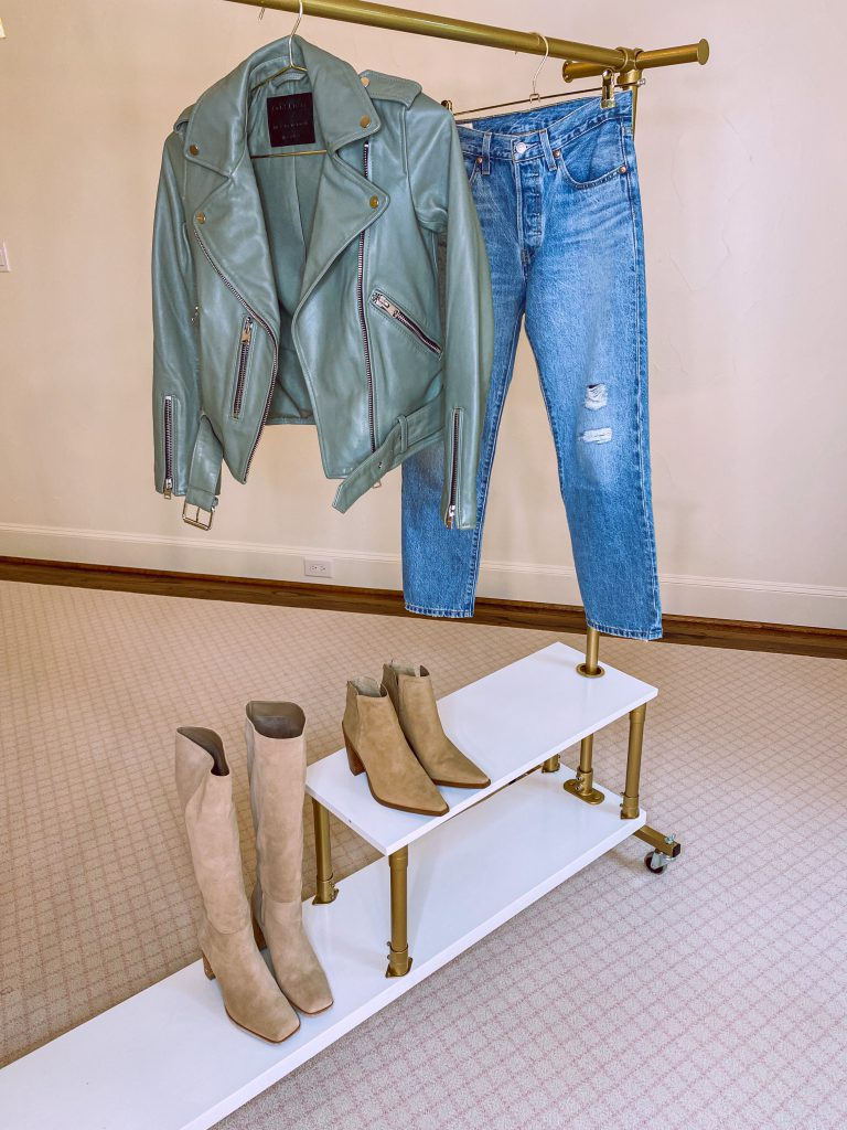 sage green biker jacket, levis mom jeans, vince camuto tortilla suede welland booties, Olly Knee High Boot