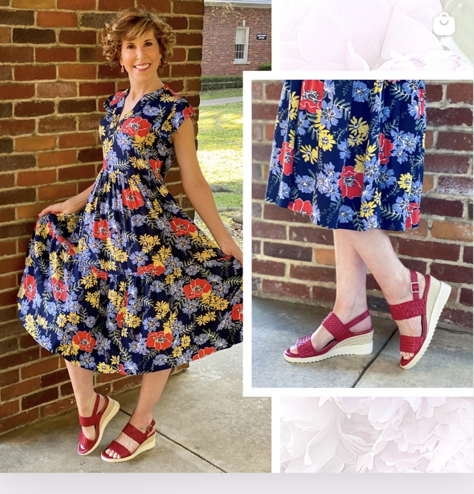 woman over 50 wearing easy spirit wedge sandals