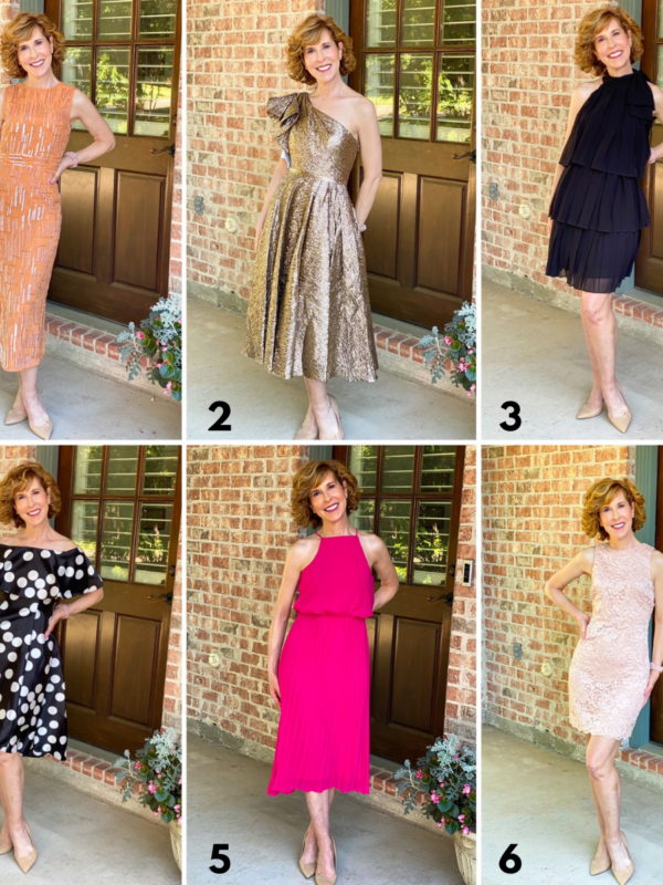 collage of woman over 50 standing by back door wearing 6 different cocktail dresses