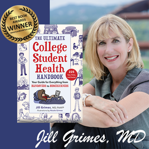 jill grimes md with her book the ultimate college student health handbook