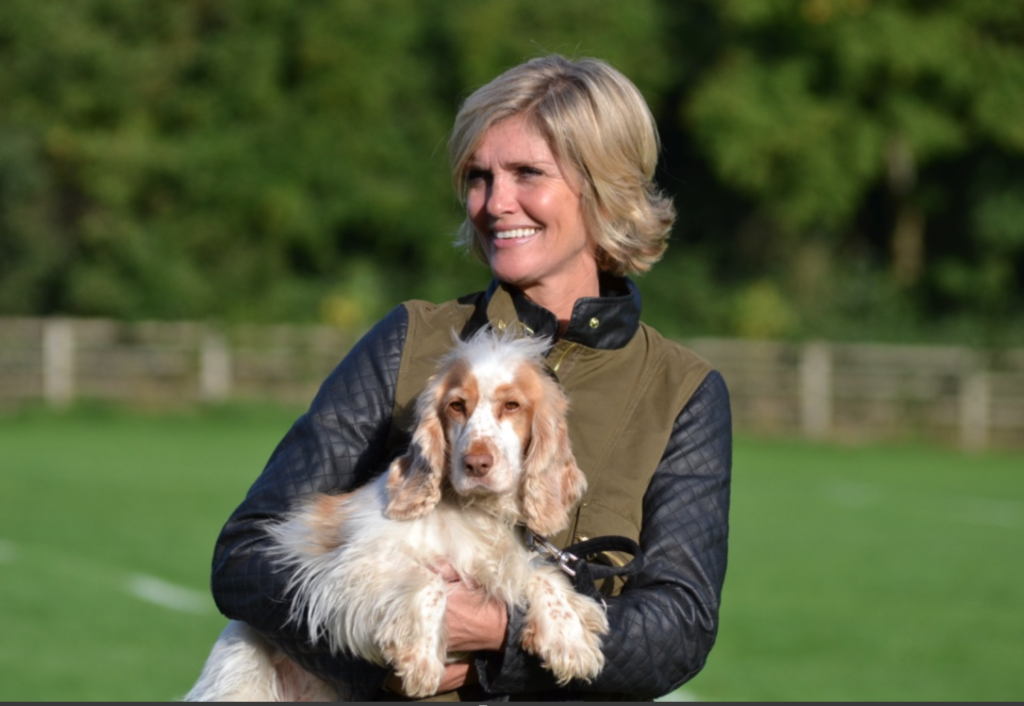 tina foster of mushroom london with her dog Minty