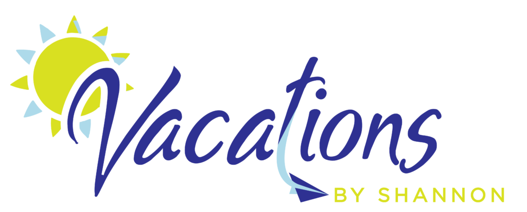 logo for Vacations by Shannon owned by empty nester Shannon Leyerle