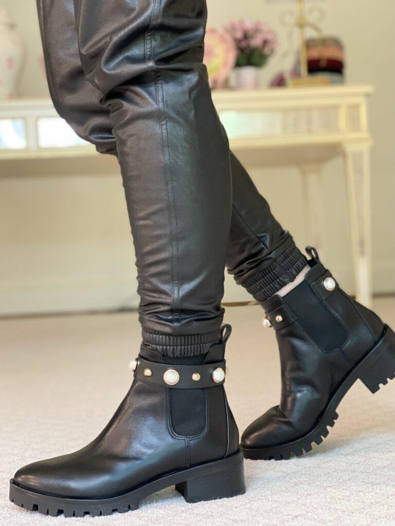 lug soled black booties with pearl trim