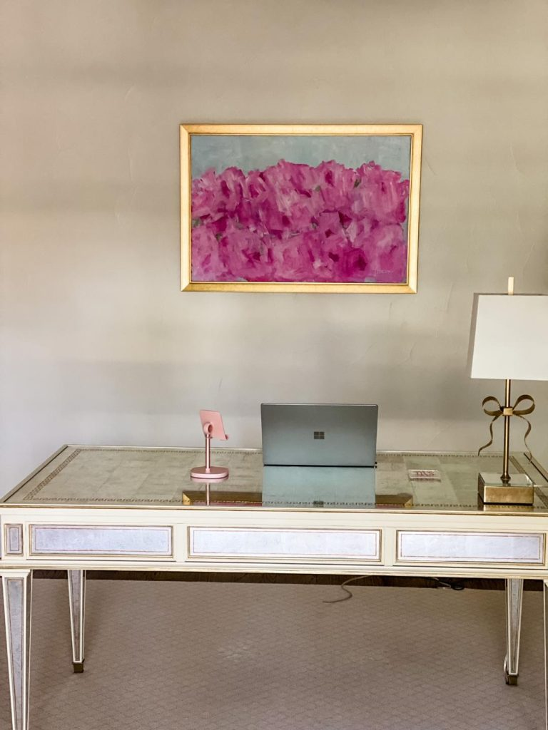 pink flower painting in office